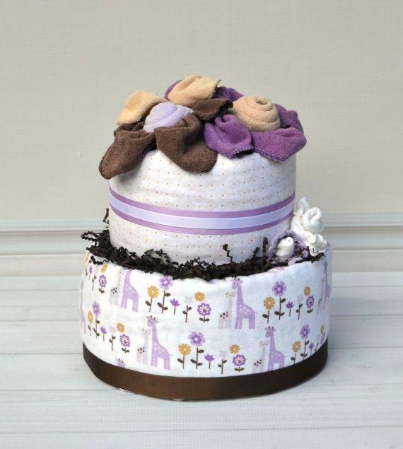 Giraffe Diaper Cake Purple & Brown Baby Girl by babyblossomco