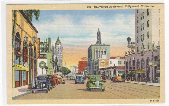 Hollywood Boulevard Cars Hollywood CA B by ThePostcardDepot, $5.00