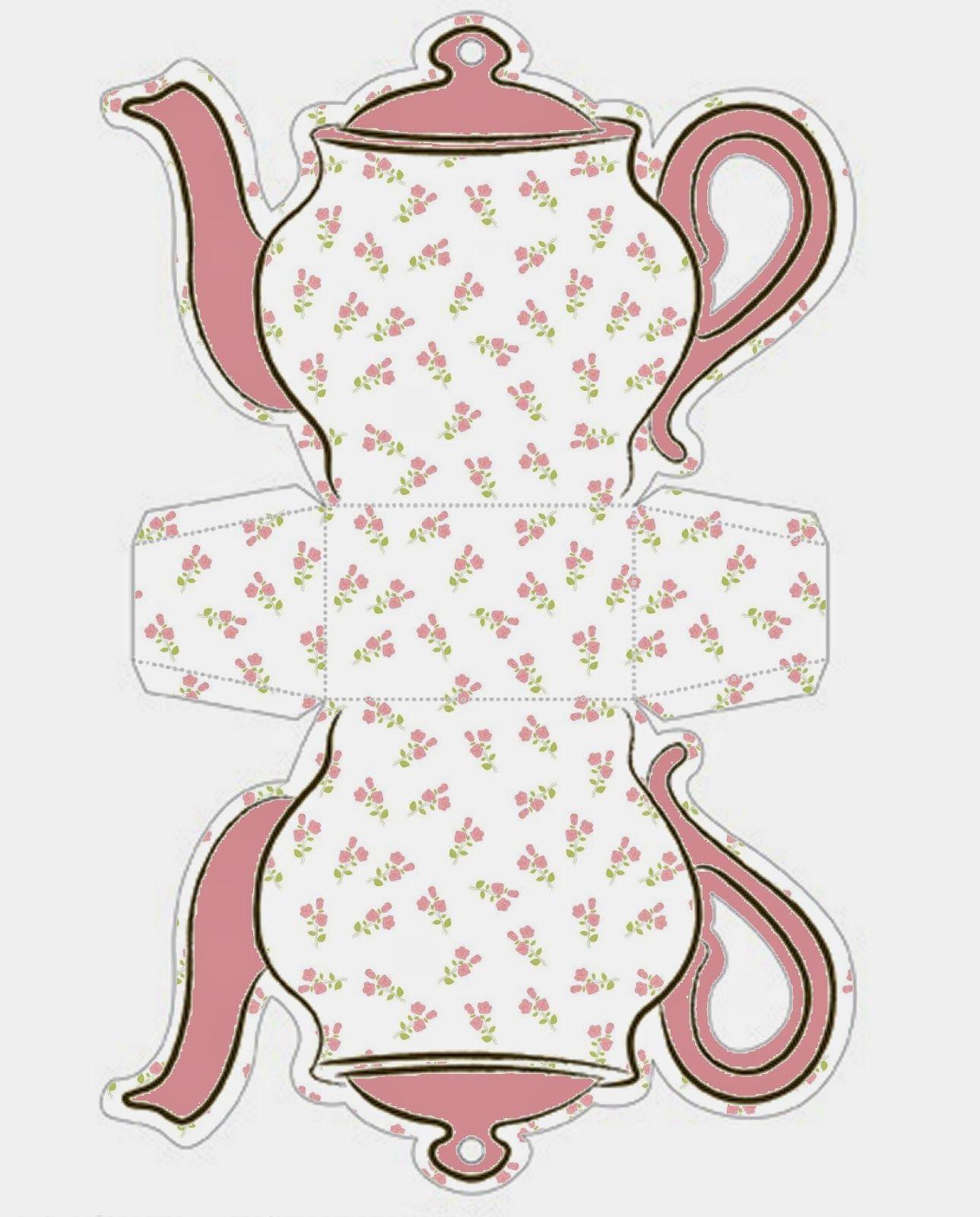 Shabby Chic Teapot Free Printable Boxes.   шаблоны   Pinterest ...