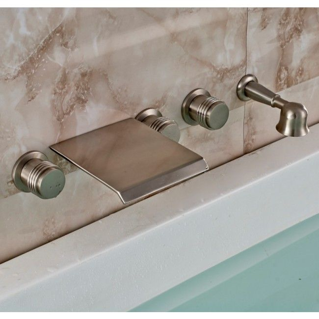 Juno Wall Mount Bath Tub Waterfall Faucet With Handheld Shower