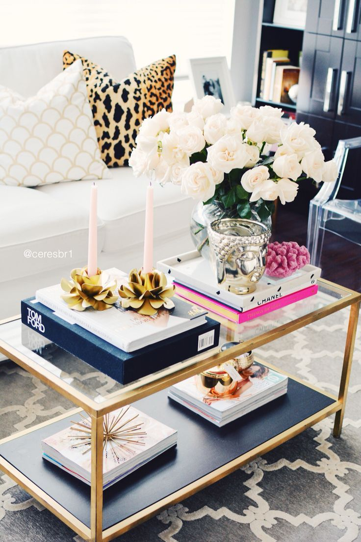 Coffee Table Styling Gold And Pink Leopard Pillows Vase Accessories From
