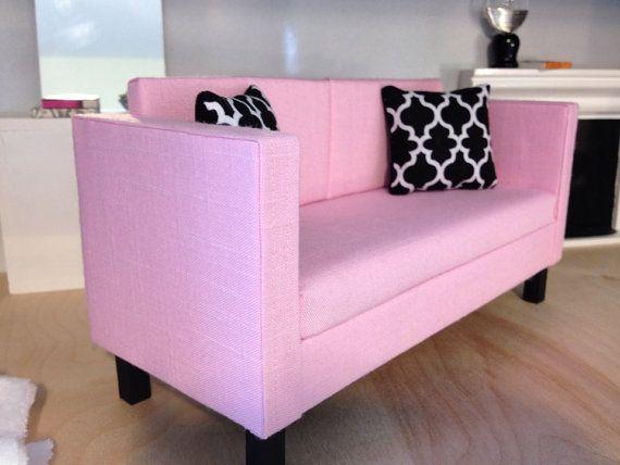 leichte rosa sofa puppenhaus m bel ma stab 1 6. Black Bedroom Furniture Sets. Home Design Ideas