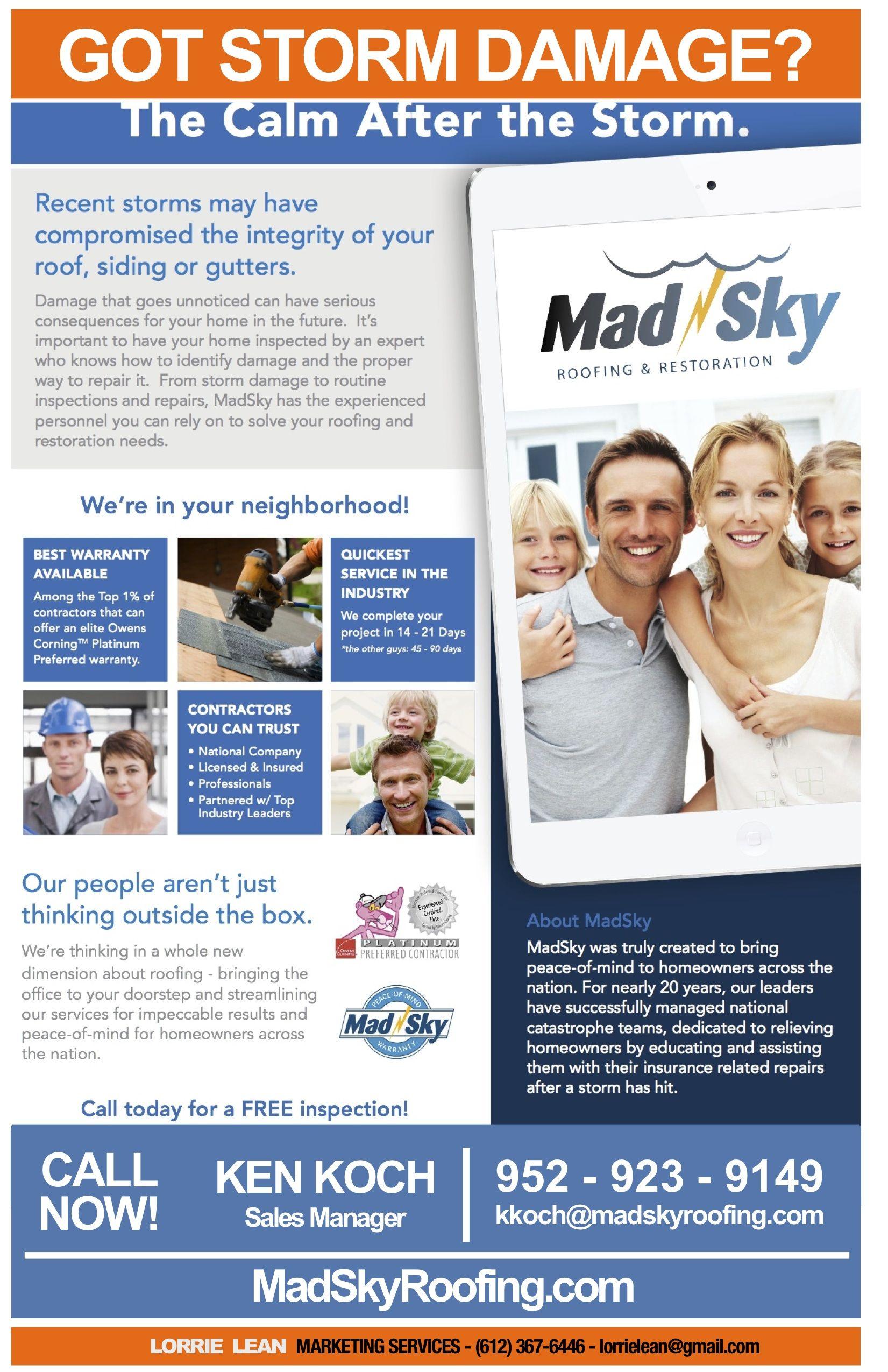 Got Storm Damage Call Ken Koch 9529239149 For A Free Inspection Calm After The Storm Storm Gutters