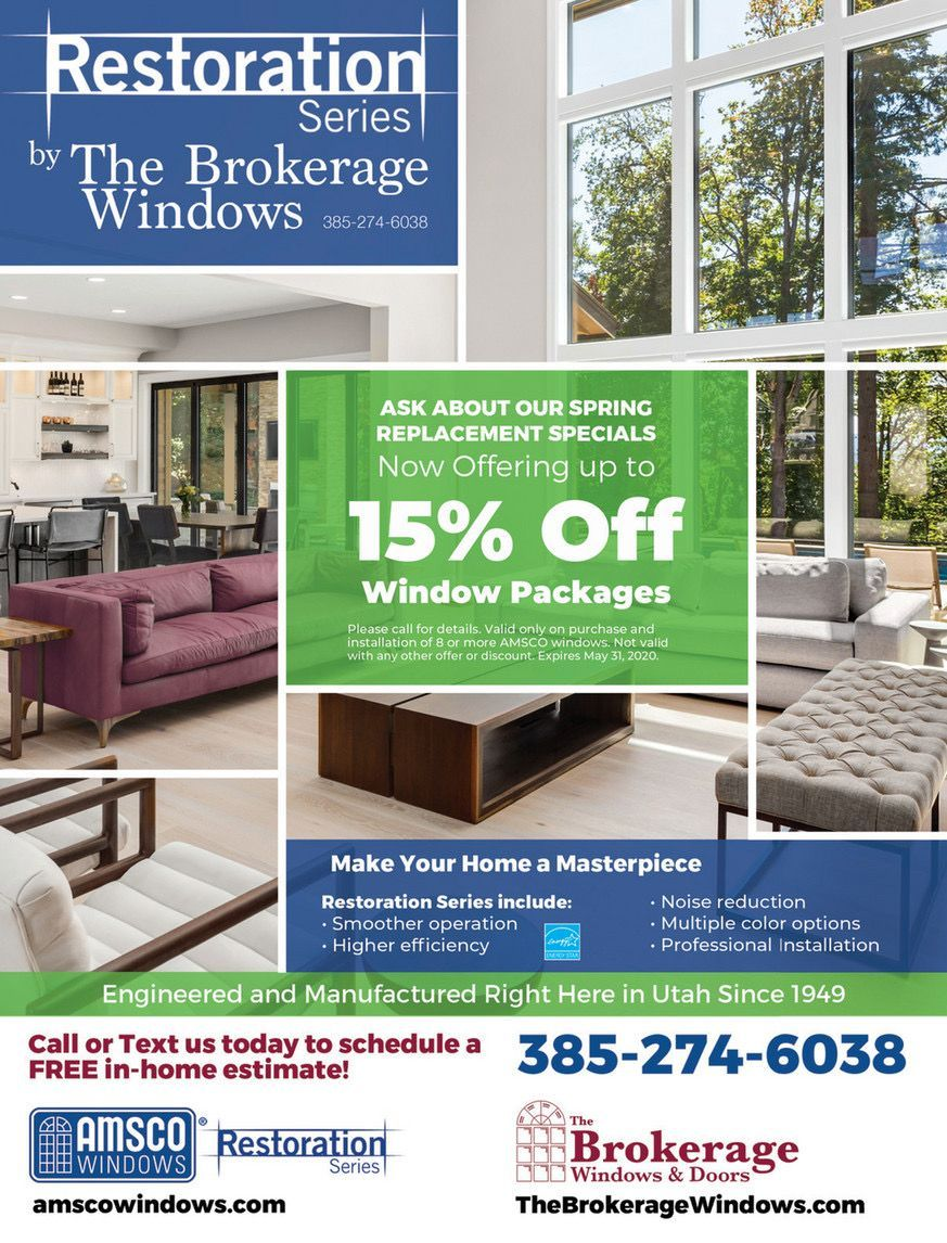 One of the greatest upgrades to a home is highly efficient windows. Windows today have smooth operation systems, highly efficient, noise-reducing, and have multiple styles and colors to choose from. @amscowindows is offering up to 15% off new window packages. Call or text them today to schedule a FREE estimate.  . . . . . #homedecoration #homeideas #homeimprovement #homestyling #hometrends #instahome #thehomemag #TheHomeMagUt #utahhomemag #supportsmall #supportutah #utahlocalbusiness #windows