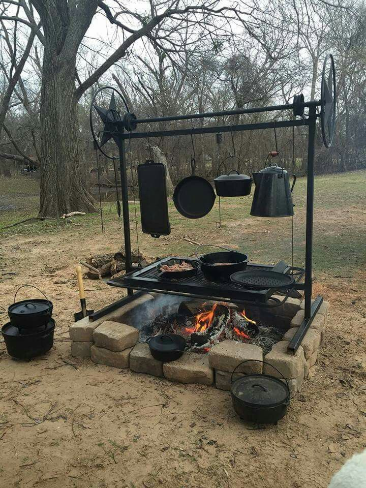 Cast Iron Outdoor Cook Station Posted By Survivaloftheprepped Com Fire Pit Grill Outdoor Fire Fire Pit