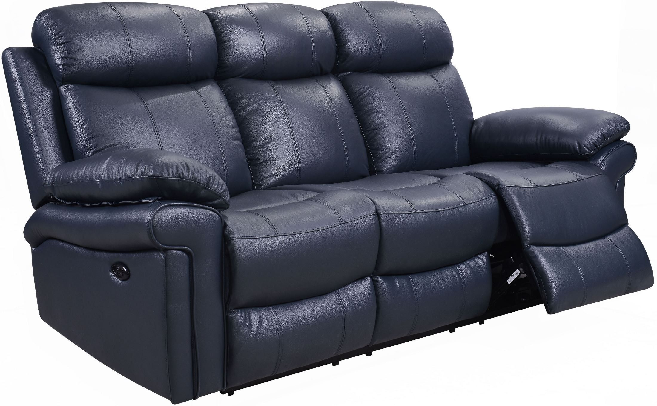 Shae Joplin Blue Leather Power Reclining Sofa Blue Leather Couch