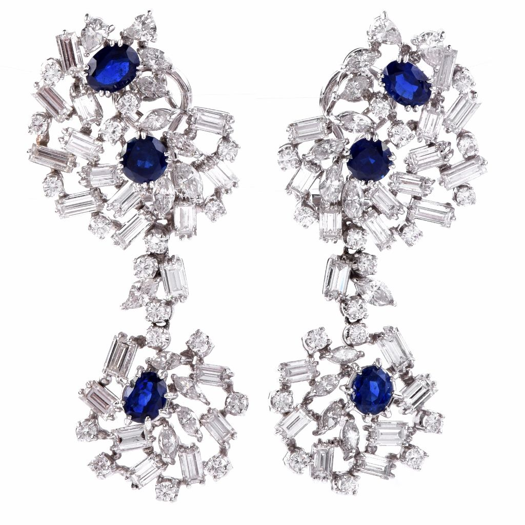 chandelier item pin platinum sapphire diamond large earrings s