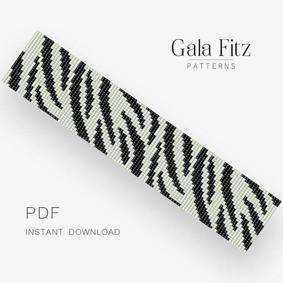 Zebra bead loom pattern, DIY gift idea, Over 20 strands loom pattern for bracelet making #beadloom #zebraprint #pdfpattern #instantdownload #loombeading #beadloompattern #beadloombracelets #galafitz #greatnames
