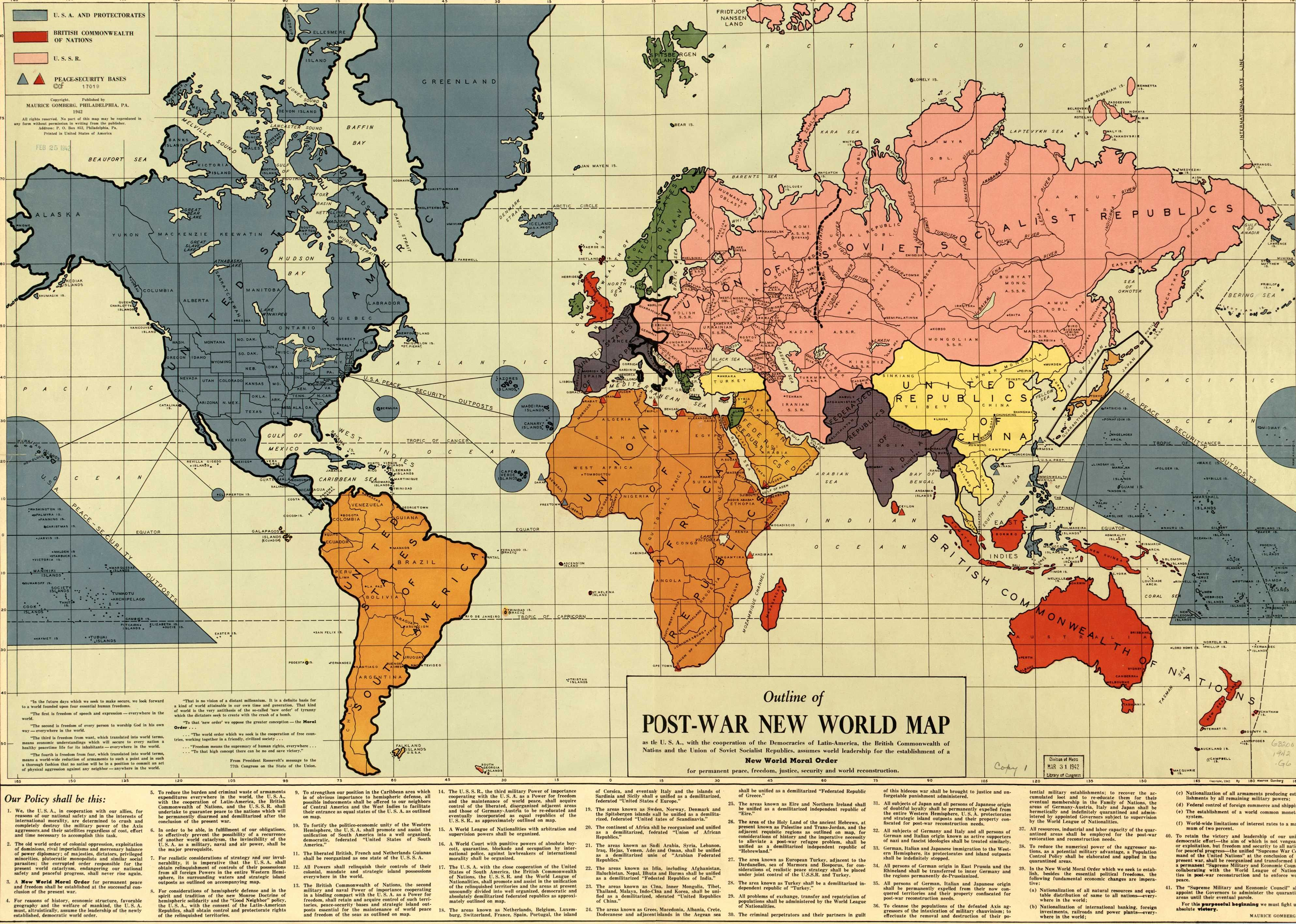 World Map created in 1942 which shows Japan quarantined (nuclear or ...