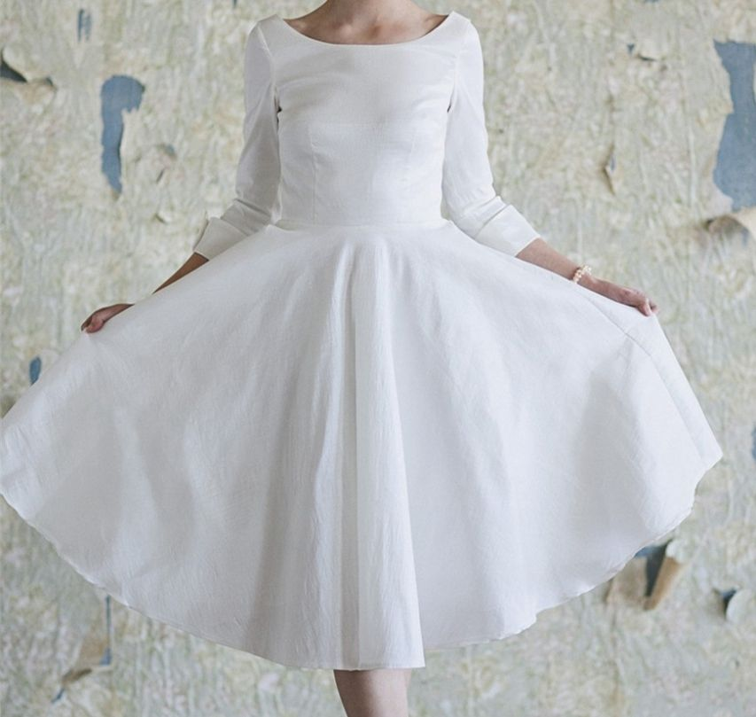 White Taffeta Short Prom Dress With 3/4 Sleeves | Shorts, Taffeta ...