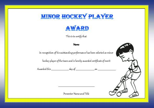 Minor Hockey Player Of The Game Award  Hockey Certificate