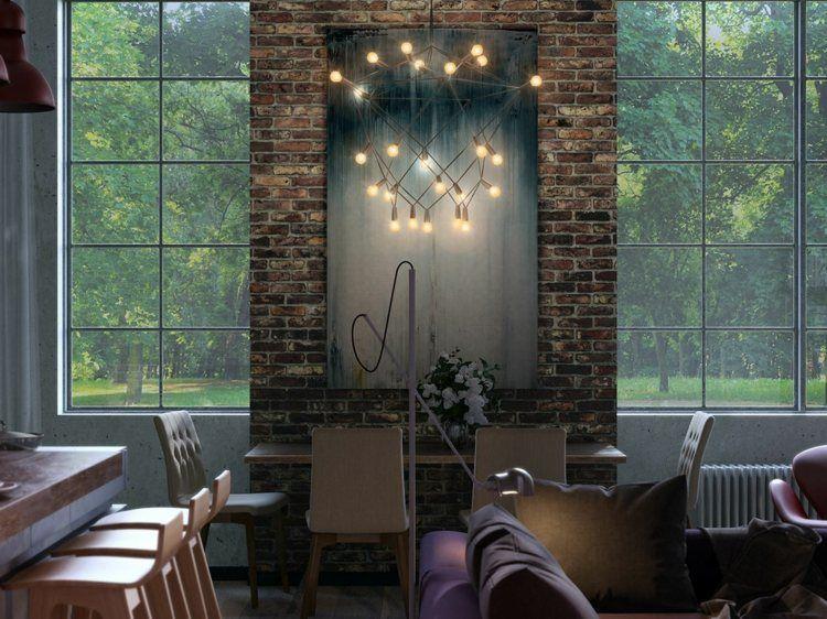 Die industrielle Design Idee für die Lampe erinnert an die - industrielle stil wohnung