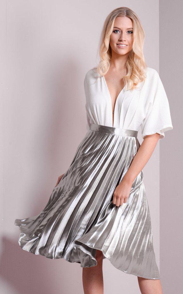 4b2170bb2b3 Pleated Satin Metallic Midi Skirt Silver - SilkFred | fave | Pleated ...