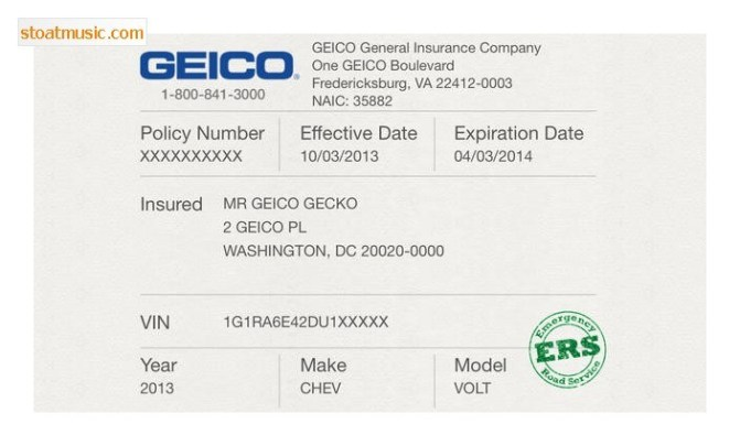 Geico Insurance Card Template Free Download Card Templates