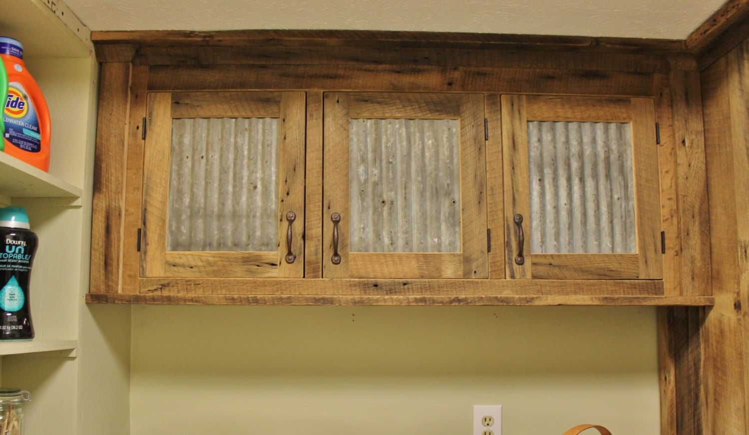 Rustic upper cabinet reclaimed barn wood w tin doors by for Barn style kitchen cabinets
