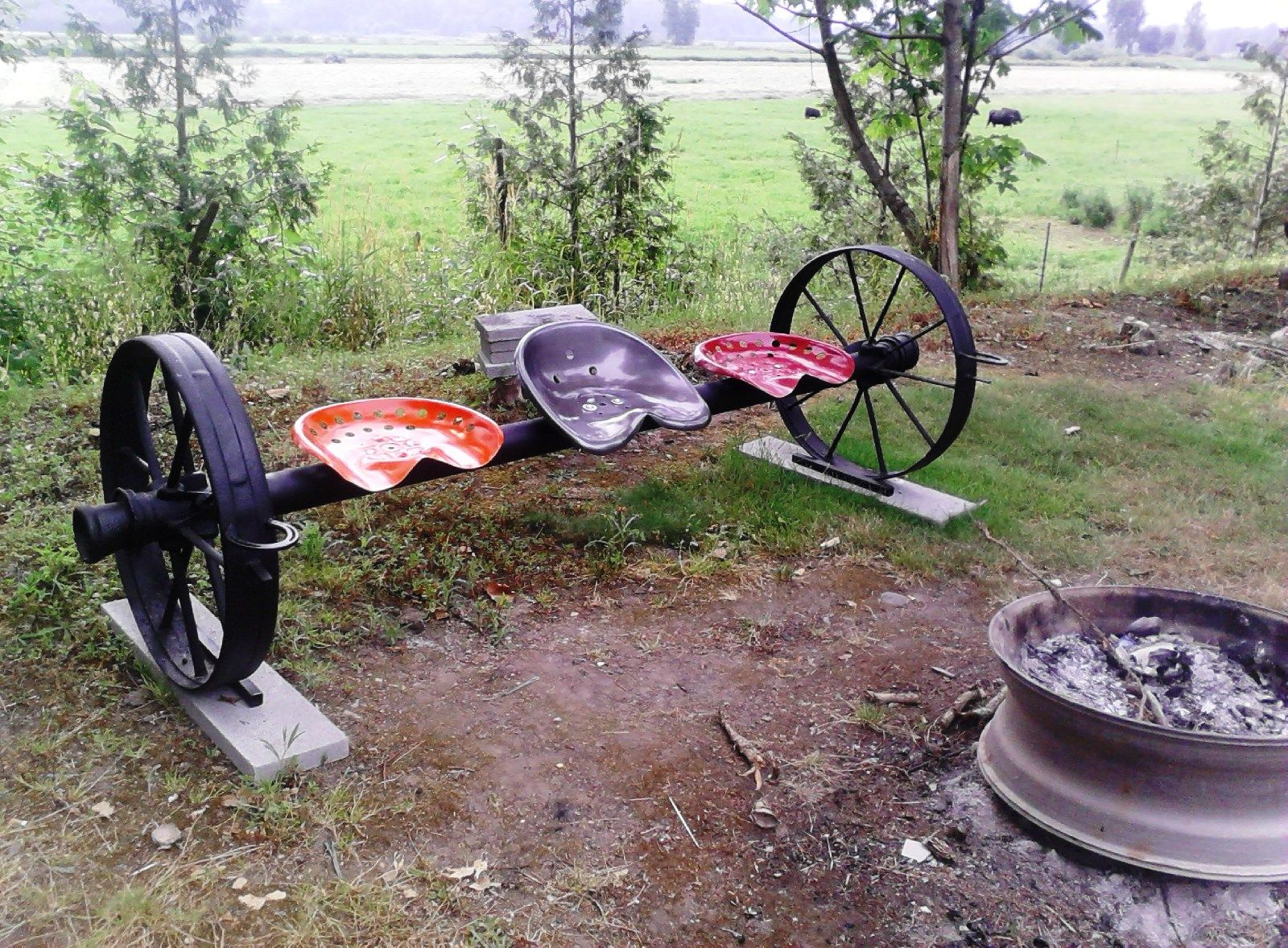 Metal Tractor Seat With Wheels : Bench seat tractor steel wheels vintage campfire yard art
