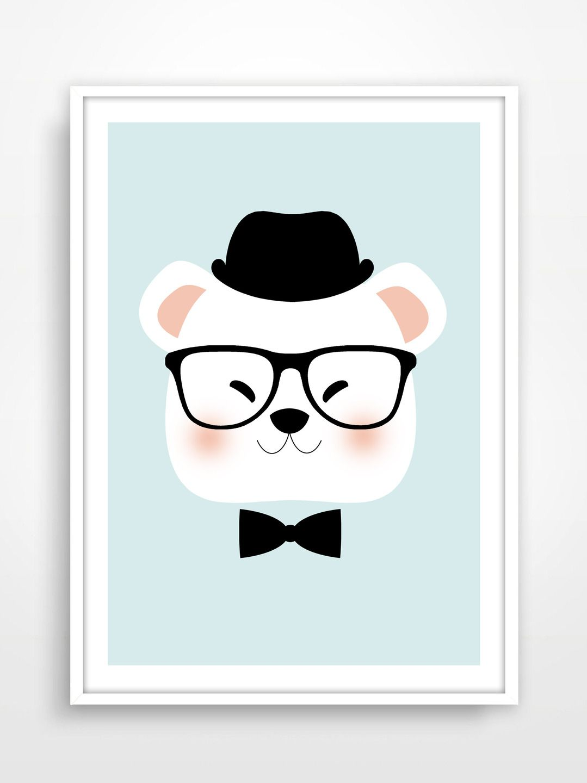 Affiche poster print ours hipster d coration affiche d co pour chambre d 39 enfant bear - Deco chambre d enfant ...