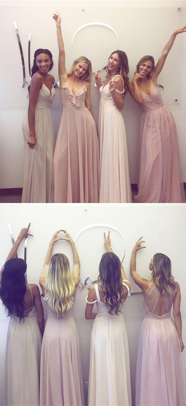 Aline spaghetti straps backless ivory chiffon bridesmaid dress