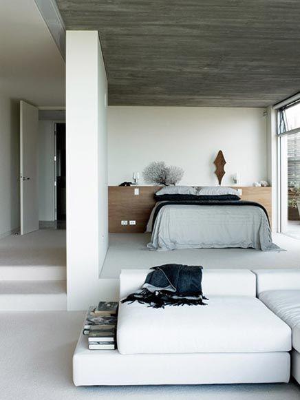 open strakke slaapkamer open modern bedroom