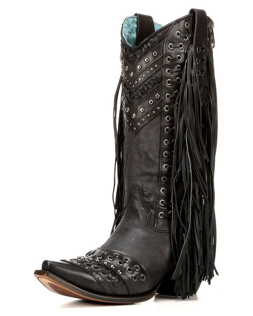 Women's Studded Side Fringe Cowgirl Boot Snip Toe - C3006