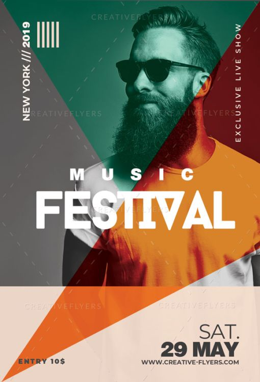 Festival Music Poster editable in Photoshop - Creative Flyers #posterdesigns