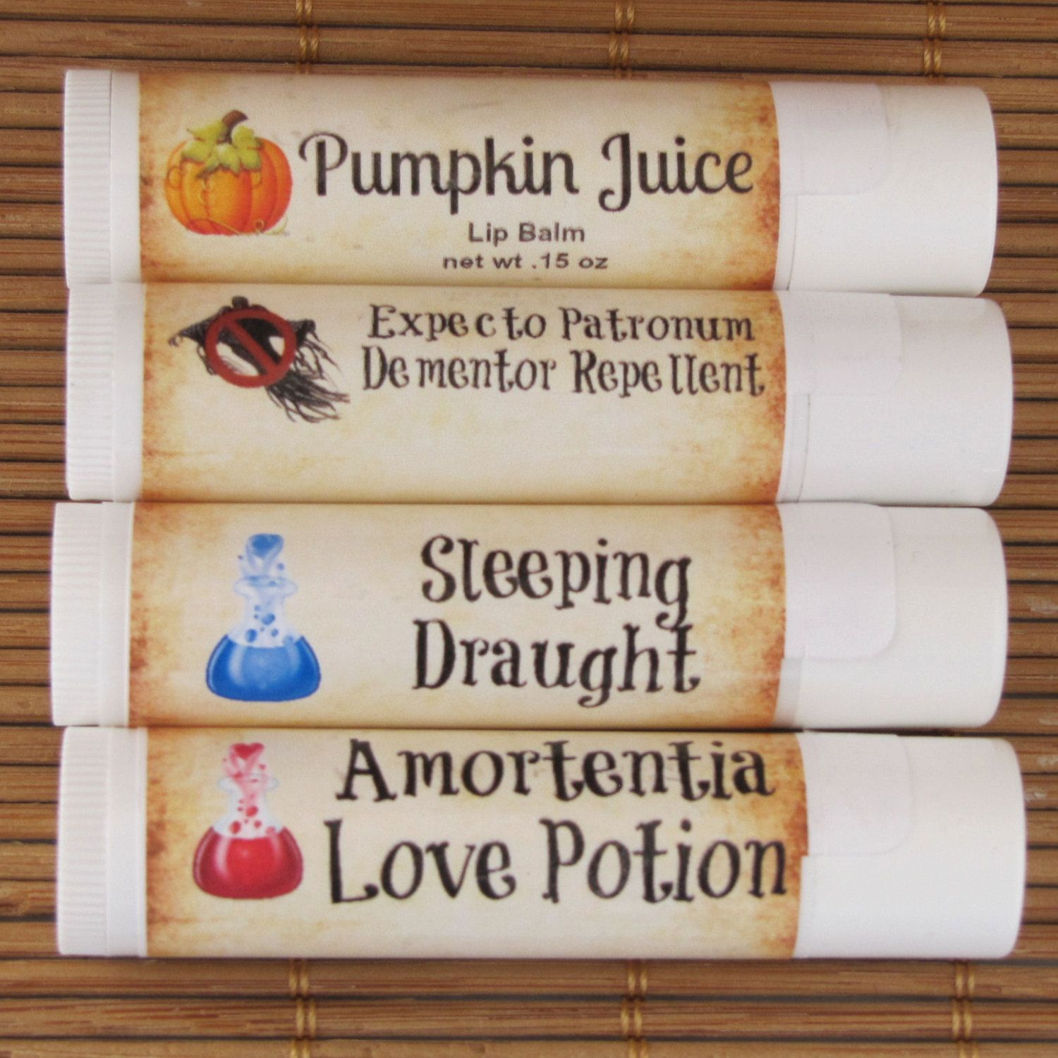 Harry Potter Potions Lip Balm 4 Pack - Handmade Lip Balm - Love Potion, Sleeping Draught, Expecto Patronum, and Pumpkin Juice by CherryPitCrafts on Etsy