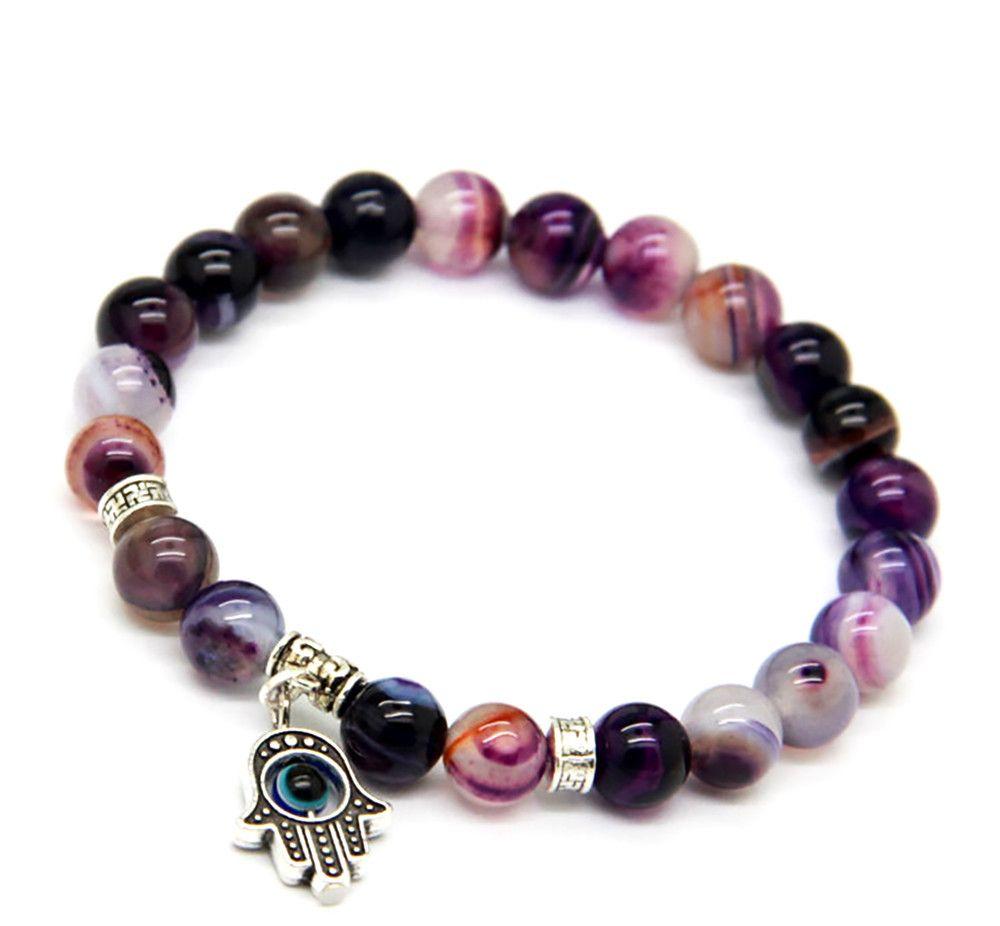 Purple Agate Bracelet with Silver Hamsa / Fatima Hand