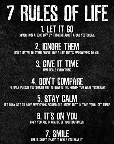 7 Rules of Life Motivational Poster - Printed on Premium Cardstock Paper - Sized 11 x 14 Inch - Perfect Print For Bedroom or Home Office - 11 Inch x 14 Inch