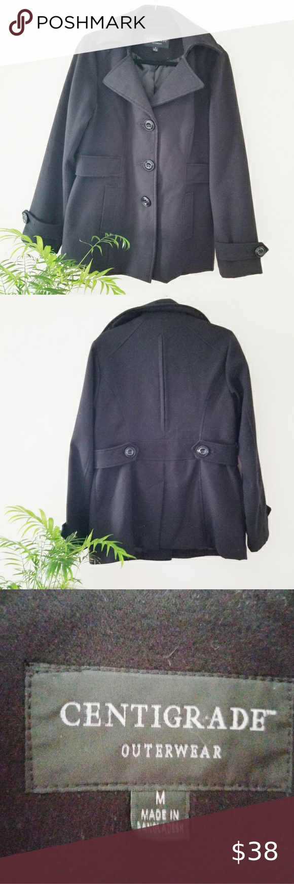 Centigrade Outerwear Wool Winter Coat Great Coat For Winter Black Little Details On Sleave And Back Add To The Great L Wool Winter Coat Outerwear Winter Coat [ 1740 x 580 Pixel ]