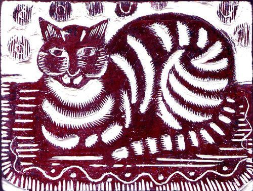 "Katherine May Fryer (English, b. 1910) - ""The Cat"" (before 1940) - Woodblock print"