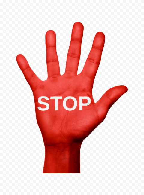 Hd White Stop Text Word On Red Realistic Hand Png Realistic Words Png