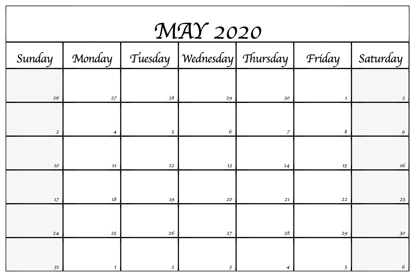 Blank May 2020 Calendar For Proper Planning Printable Calendar