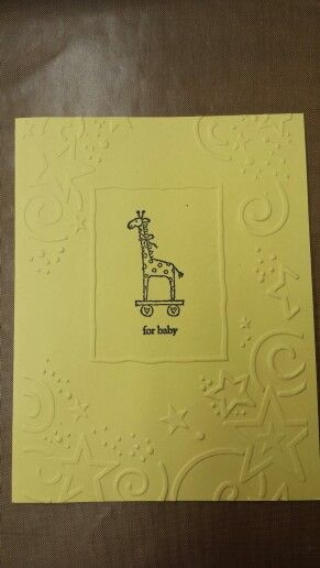 Easy to make baby card using Darice embossing folder and the image of your choice. I did some in pink and in blue too. :)