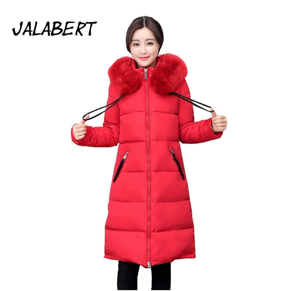 Winter Women Fur Collar Thick Coat Female Cotton Midties Long Hooded Jacket e568f1169
