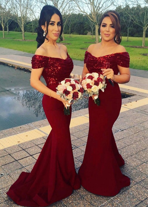 Photo of A-Line Off Shoulder Mermaid Burgundy Long Bridesmaid Dresses With