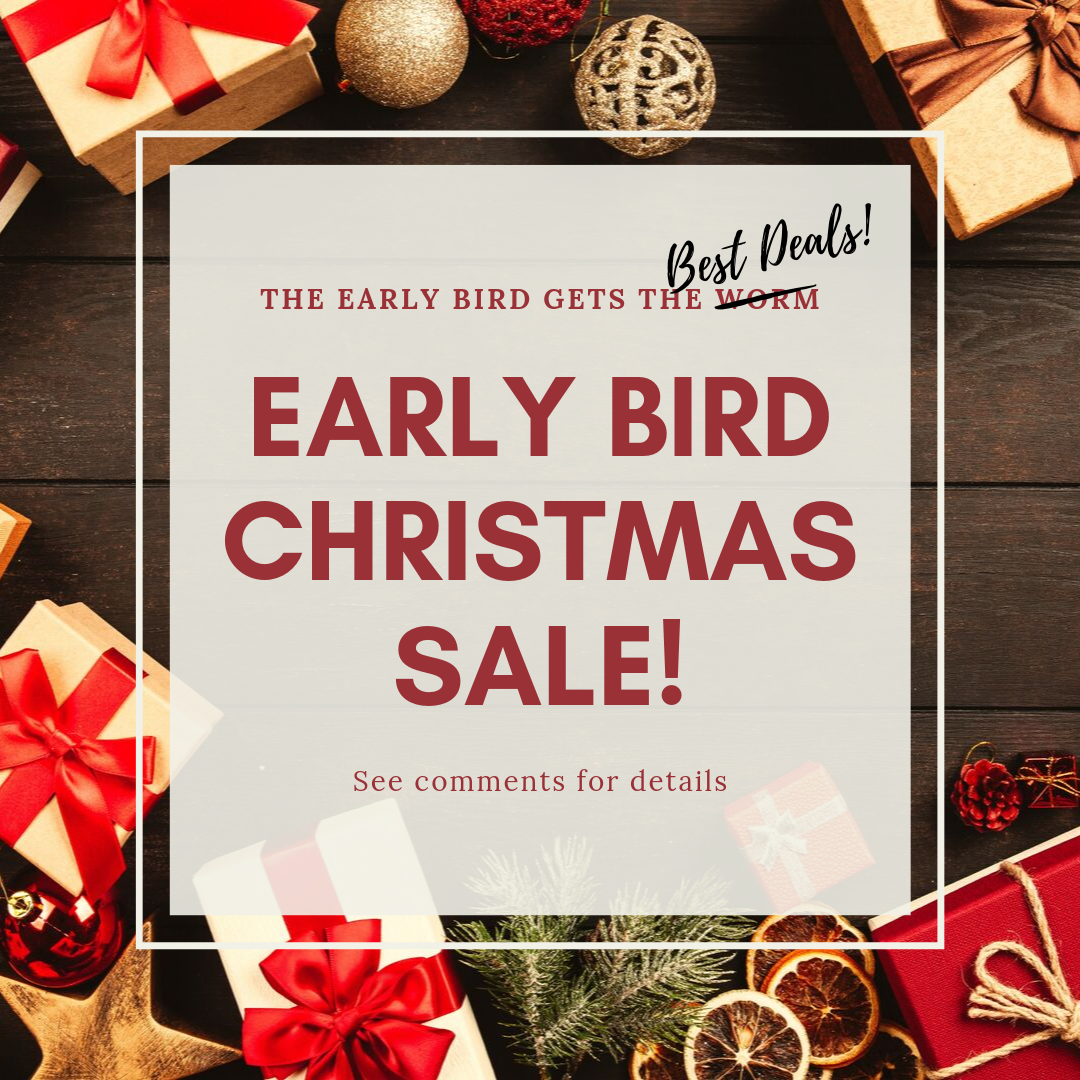 Now's the time to snatch up that gift you've been eyeing - for yourself or that special someone. From now until 10/31/2019, orders placed with Code: EARLYBIRDXMAS receive 10% off their entire purchase.  See website for full details and restrictions #christmasshopping #sale #discountcode #couponcode #christmasdeals #earlybirdsale