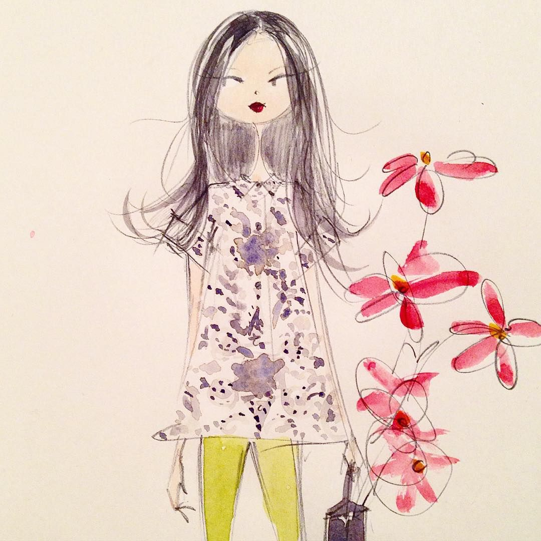 """Sunday/Monday night sketch. #sketch #fashion #watercolor"""