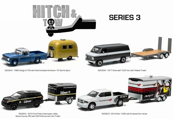 GreenLight 1//64 Hitch /& Tow 3 2012 Ford Police SUV Trailer Model