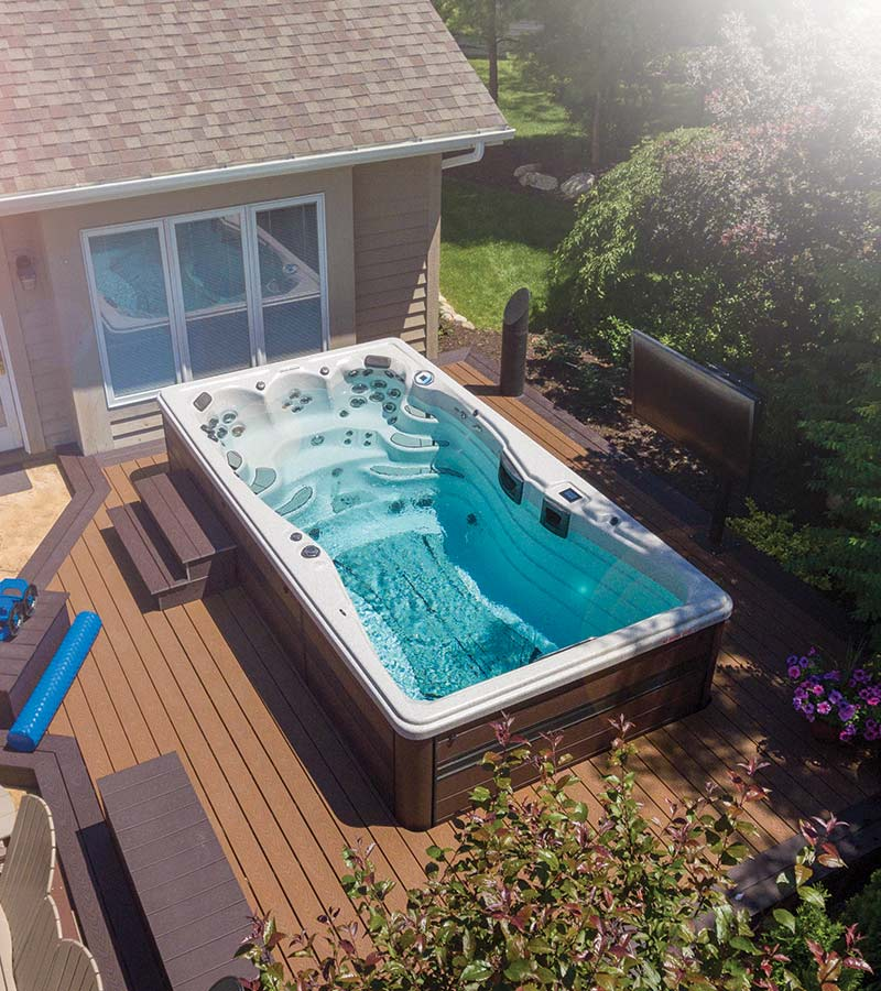 Looking To Put A Swim Spa In Your Backyard Check Out These Inspirational Photos Swimspas Hottubs Backy Backyard Spa Hot Tub Backyard Swim Spa Landscaping