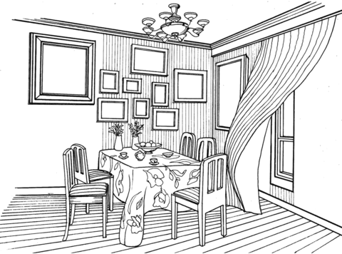 Coloriage Dining Room In Provence Style Catégories Interior