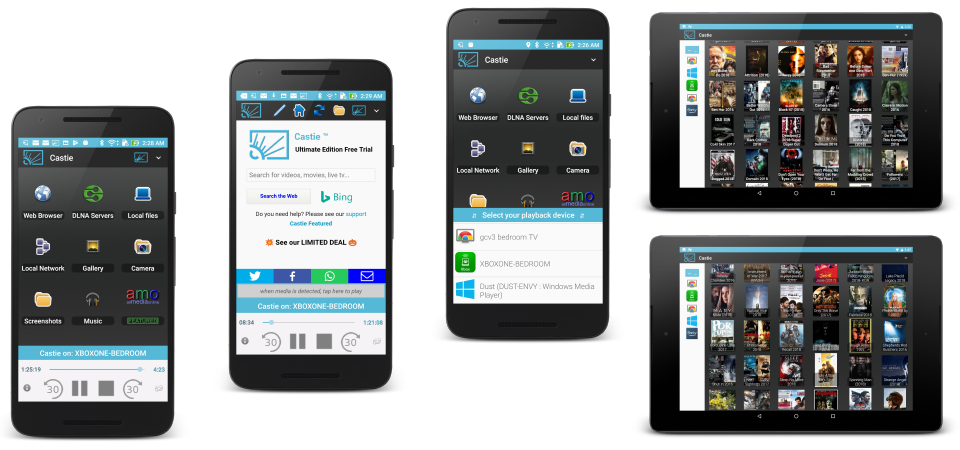 Castie UPNP for Android Galaxy tablet, Chromecast google