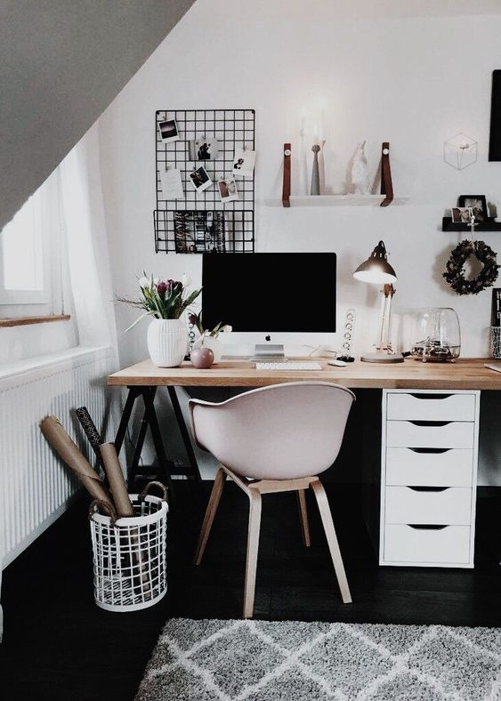 35 Black And White Decorating Ideas For Home Office Designs Study Room Decor Cute Desk Decor Home Office Design