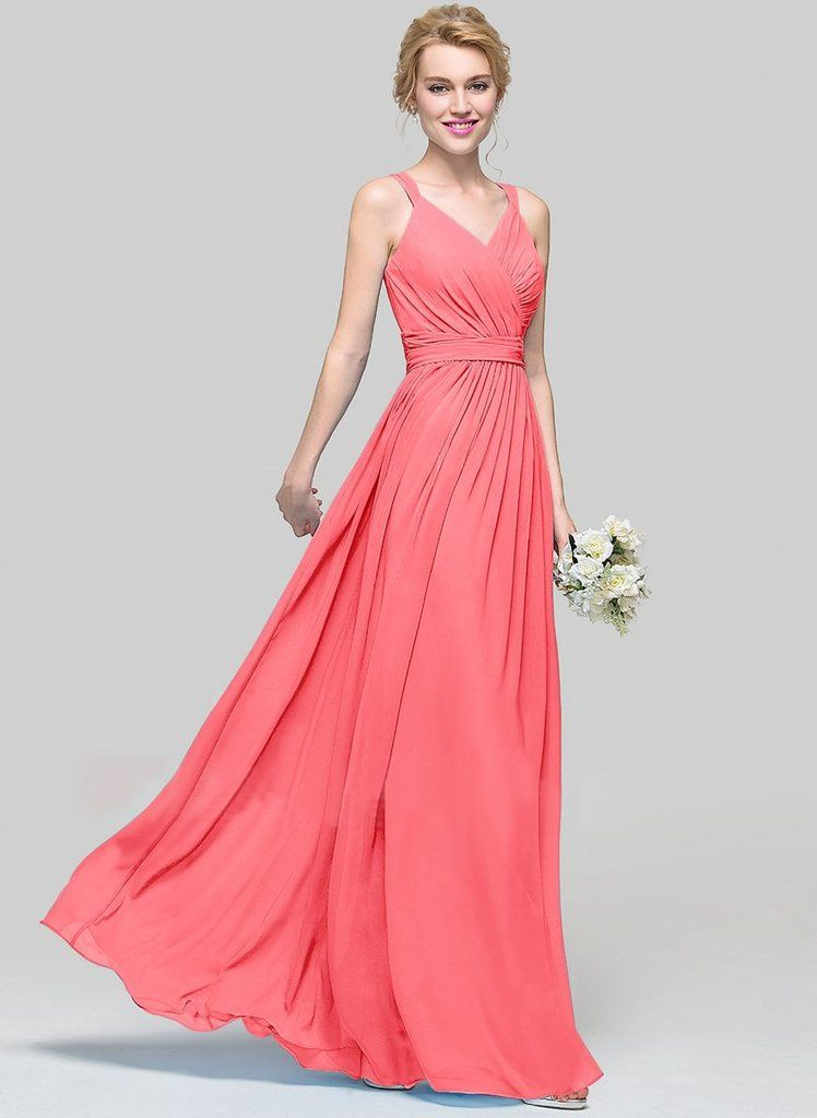 Darcy Coral Long Bridesmaid Wedding Evening Dress Uk Belle