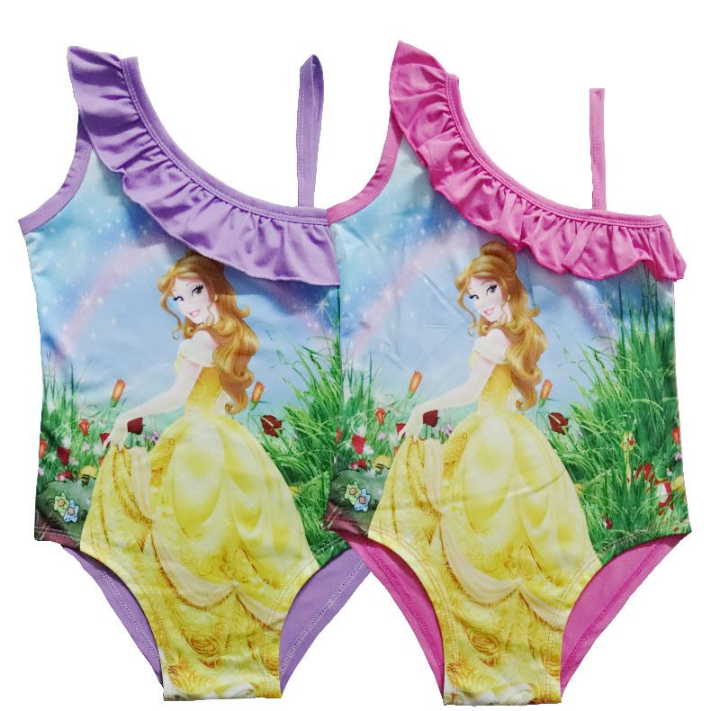 b1fc662b68 2017 New 9 style Baby Girls Swimwear Beauty and the beast Troll Summer Kids  One Piece Swimsuit Bathing Suit Swim Suit A