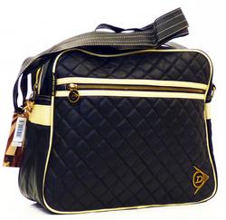 DUNLOP Heritage Diamond Quilt Retro Mod Shoulder Bag Black c3ce76fb330