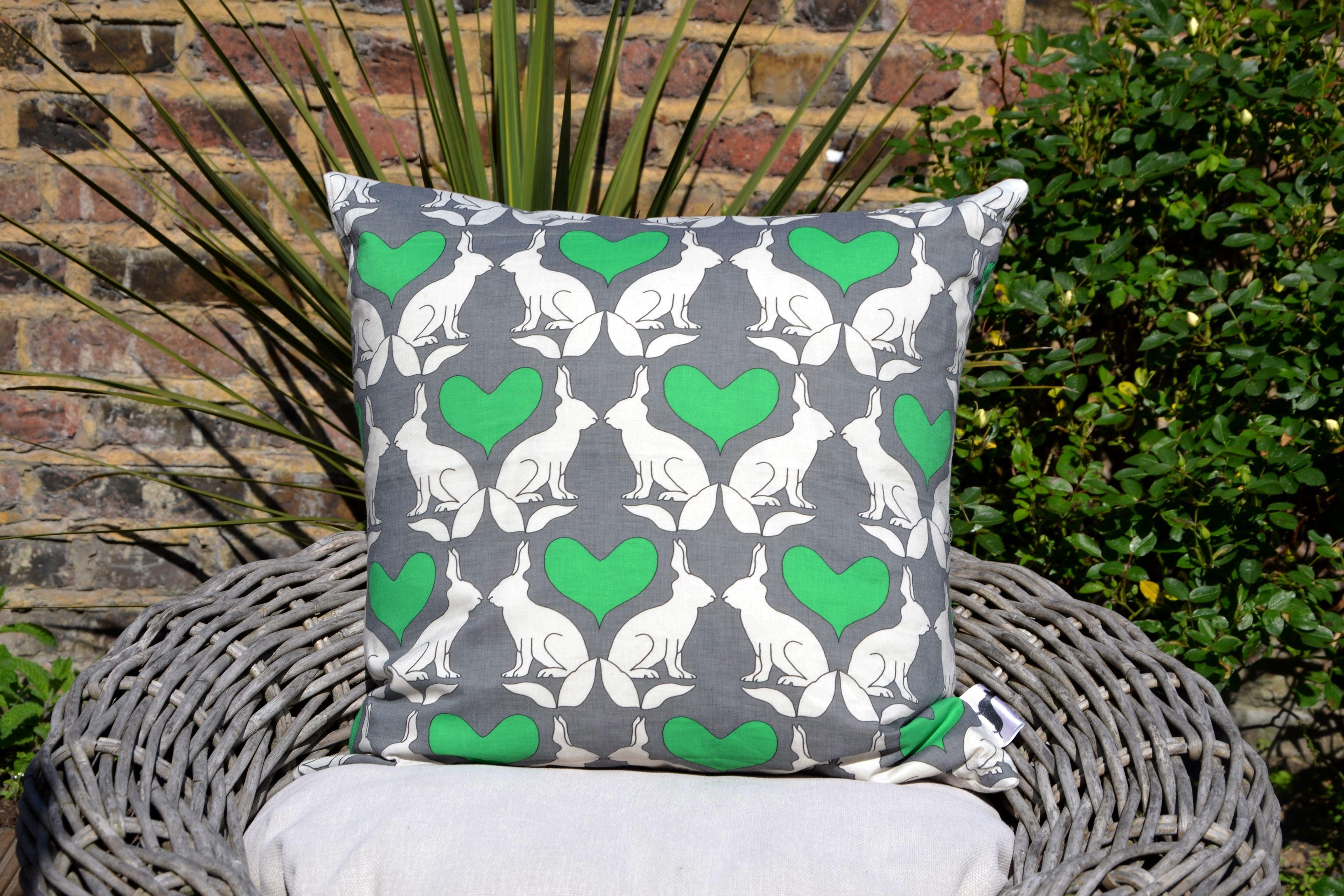 Green Hare & Heart Cushion Cover £22.00