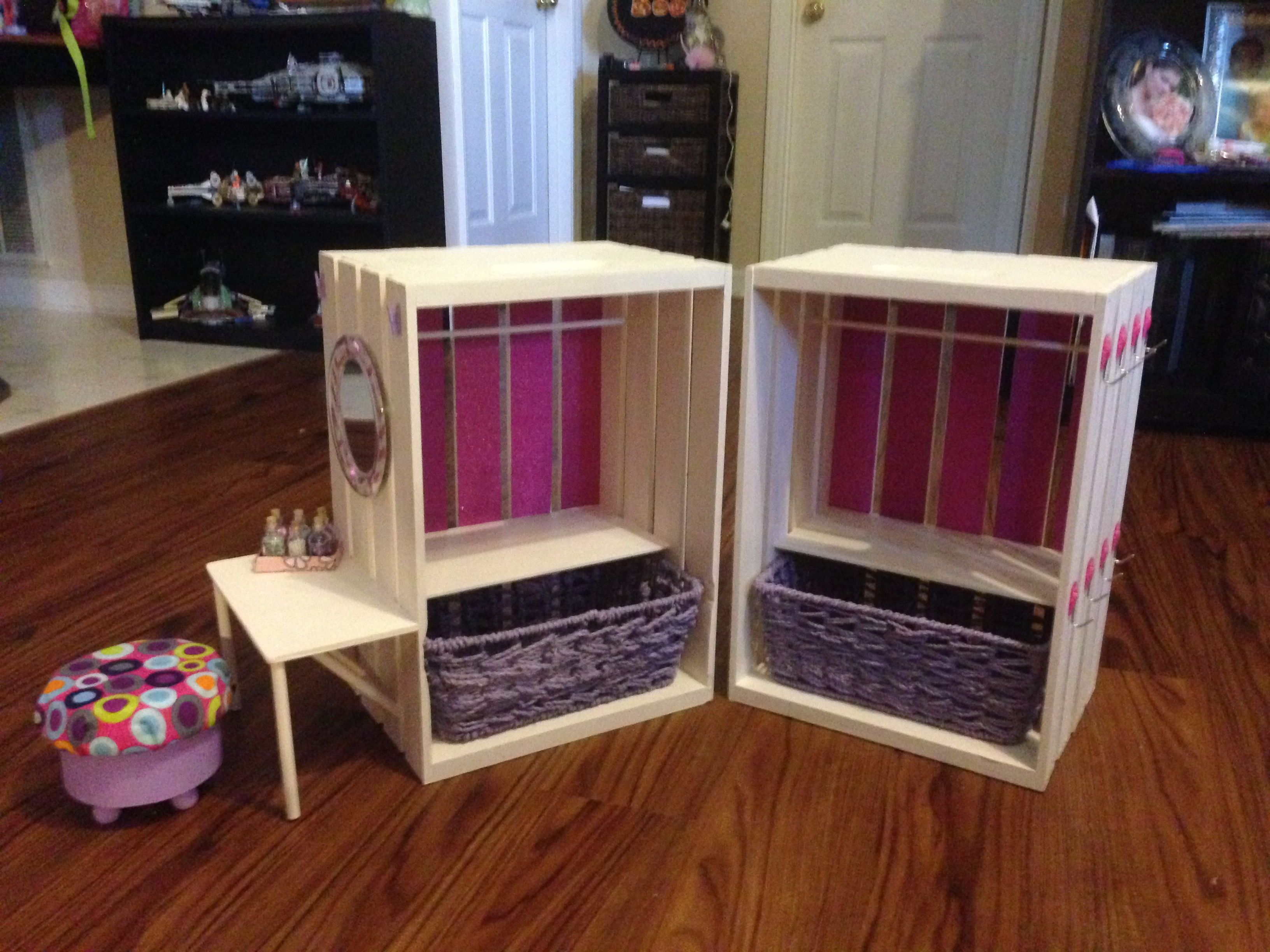 Closets With Side Vanity Made From Wooden Crates American Girl Doll Furniture Diy Doll Closet American Girl Doll Room