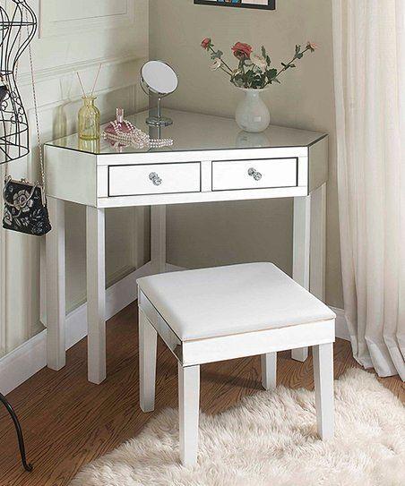 Inspired Home White Mirrored Callista Corner Vanity Table Stool