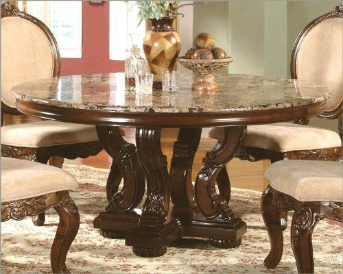 Marble Top Round Dining Table In Cherry
