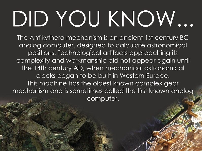 Antikyathera - the first analogue computer to illustrate analogue computer deals